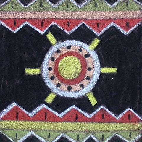 как нарисовать вместе с ребенком африканские узоры пастелью на цветной бумаге