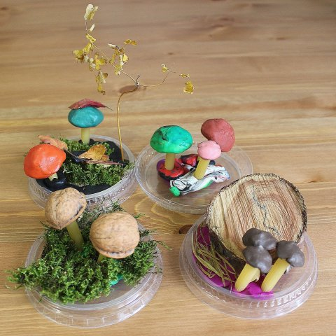 "Make the craft called ""The mushrooms"" with your kid"