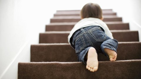 Teach your little one to crawl down the stairs