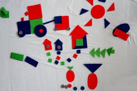 Geometric constructor made of felt
