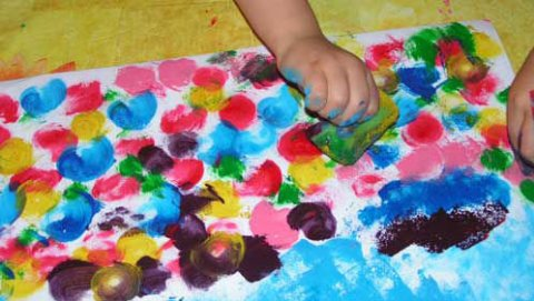 Painting with foam sponges