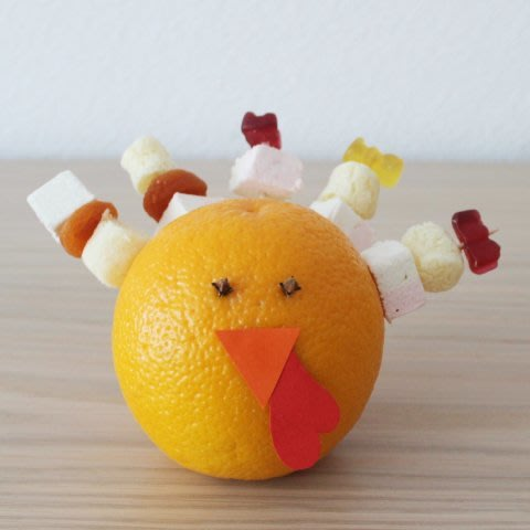 Make a turkey out of an orange with your kid