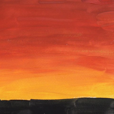 закат в пустыне гуашью