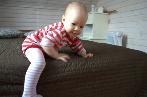 Teach your little one to crawl down from the couch