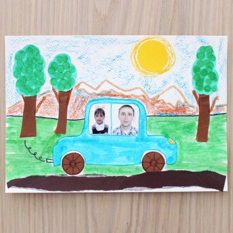 Картинка к занятию Аппликация «Папина машина» в Wachanga
