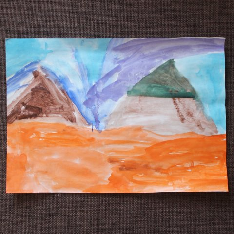 Paint mountains with your kid
