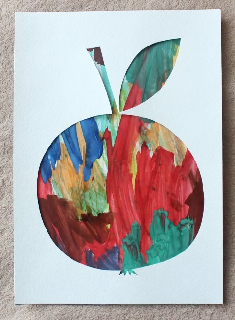 как сделать вместе с ребенком яблоко в технике паспарту
