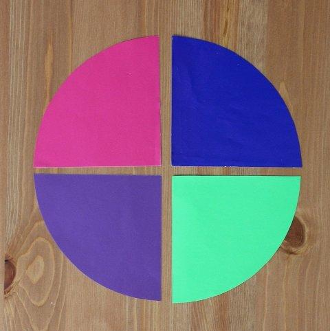 разделить круг на цветные сектора для игры ребенка