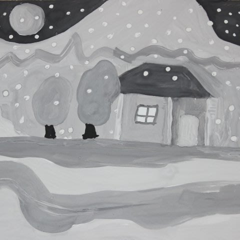 Paint with your kid, using only black and white colors