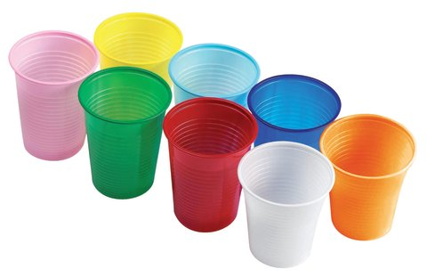 Playing with plastic cups and toys
