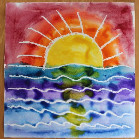 Paint with watercolors and a candle