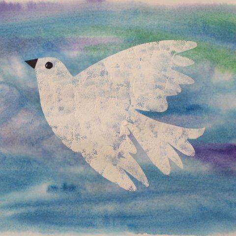 как нарисовать с ребёнком голубя в синем небе пошаговая инструкция с фото