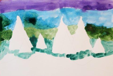 зимние рисунки акварелью с детьми