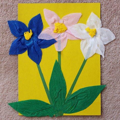 аппликация весенние цветы из гофрированной бумаги и картона своими руками вместе с ребенком