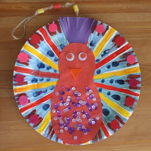 Paint a Geometric Peocock on a Disposable Plate