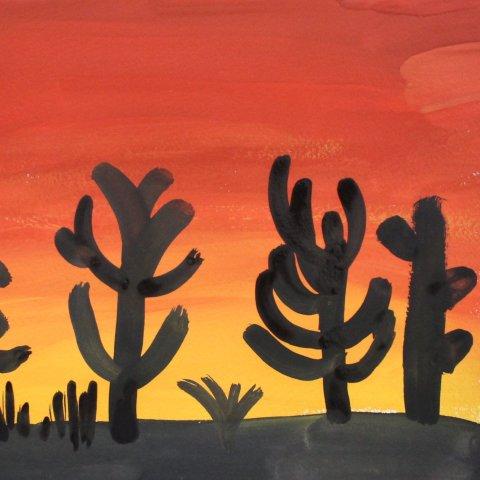 как нарисовать вместе с ребенком закат в пустыне гуашью
