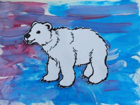 Вырезать картинку белого медведя для поделки