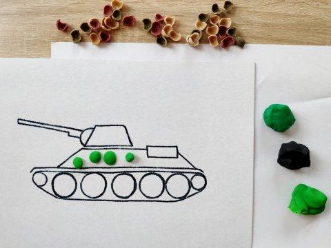 материалы для пластилиновой аппликации танк