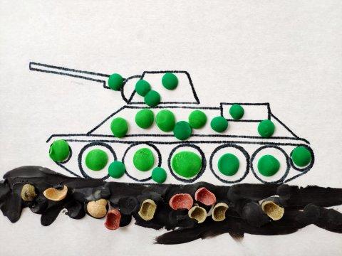 как сделать пластилиновую аппликацию танк вместе с ребенком