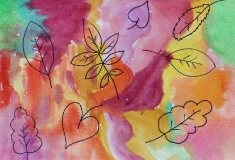 как вместе с ребенком нарисовать осеннюю картину акварельными красками и фломастерами