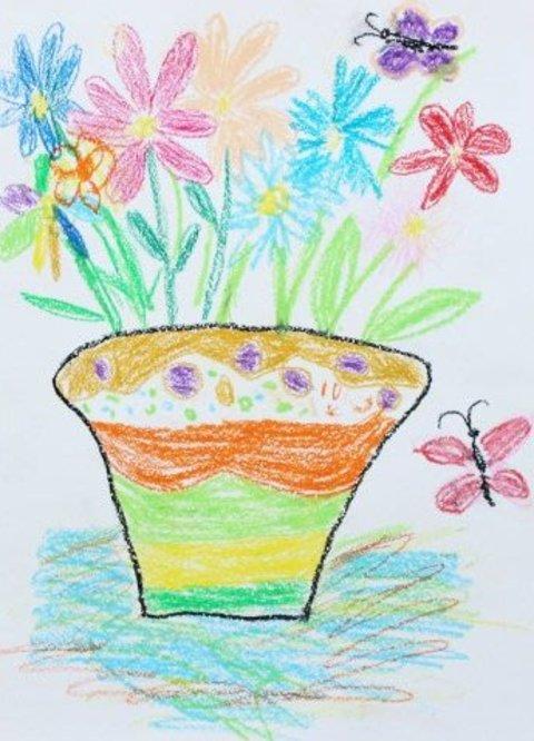 рисунок ваза с цветами восковыми мелками