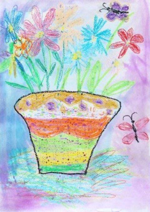 как нарисовать вместе с ребенком рисунок ваза с цветами восковыми мелками и акварелью