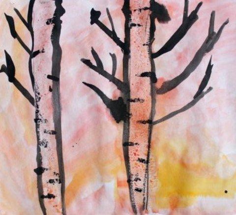 как нарисовать вместе с ребенком осенний пейзаж акварельными красками