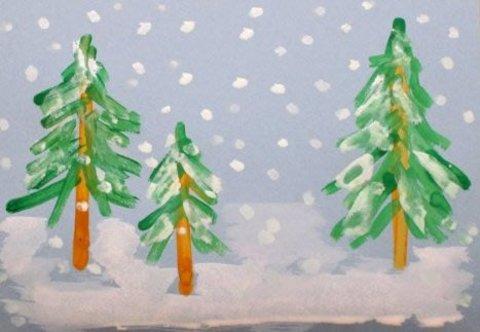рисунок ёлочки в снегу