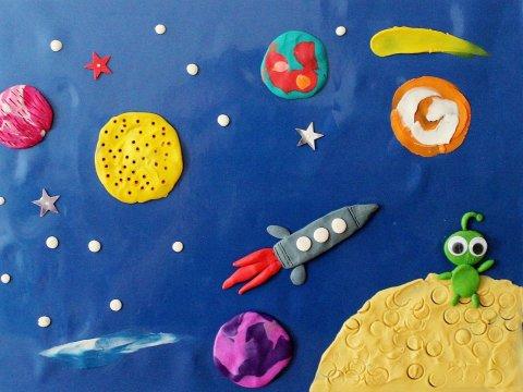 пластилиновая аппликация Космос