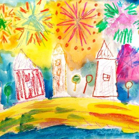 как нарисовать праздничный салют над городом
