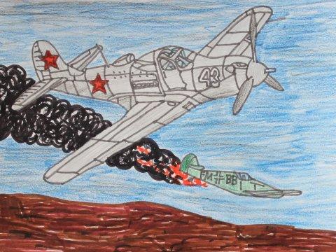как нарисовать рисунок воздушный бой