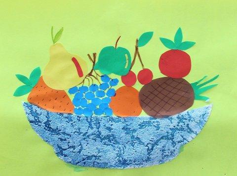 как сделать вместе с ребенком аппликацию из цветной бумаги овощи и фрукты на тарелке