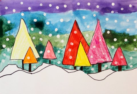 Activity picture for How to draw a Winter Forest in Wachanga