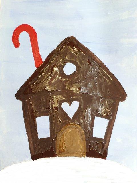 пряничный домик гуашью