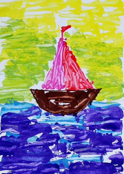 Activity picture for Offer your kid to paint with a dessert knife in Wachanga