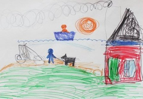 как нарисовать рисунок вместе с ребенком с помощью фломастеров и трафаретов