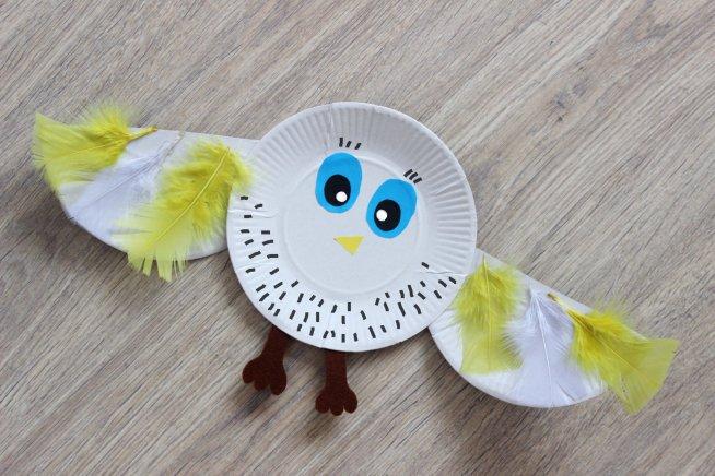 Полярная сова из одноразовой тарелки