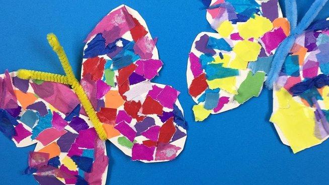 Разноцветные бабочки из бумаги