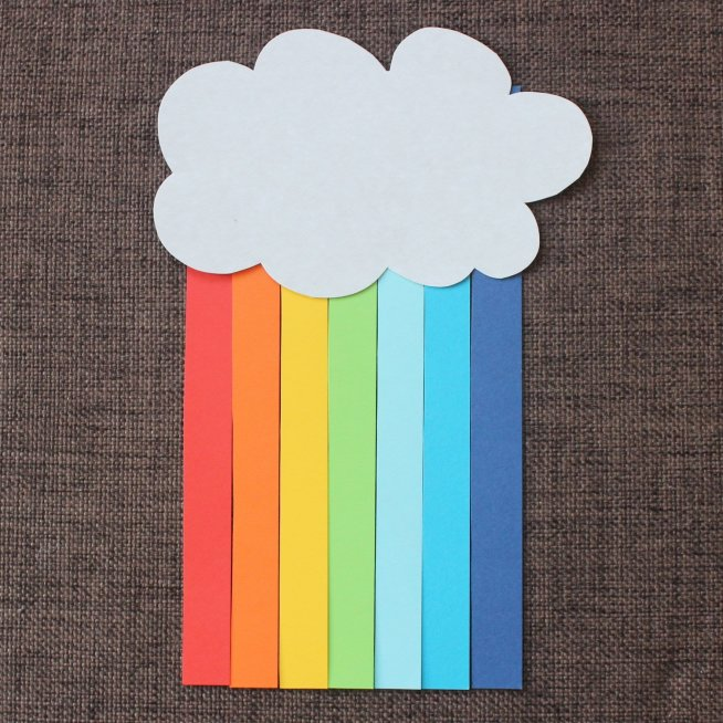 Make a rainbow out of colored paper with your kid