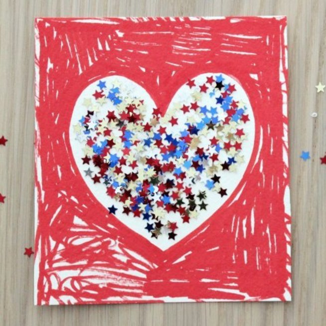 Valentine card with sequins