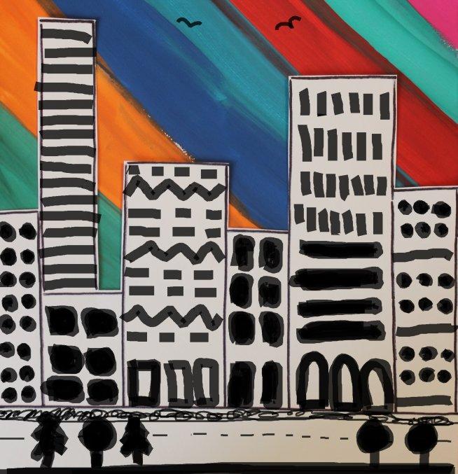 Рисуем большой город гуашью