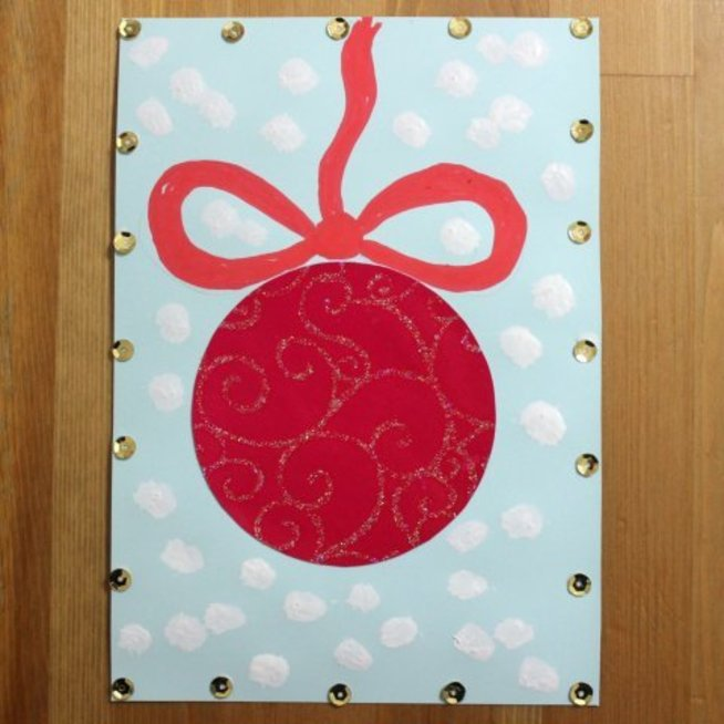 Make a glimmering Christmas Ornament Card!