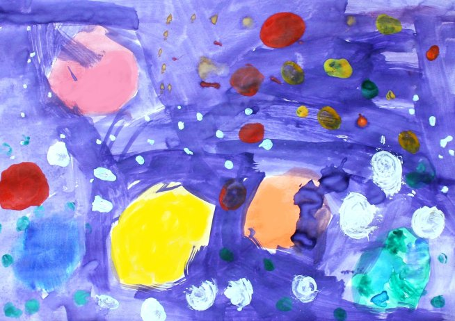 Paint  outer space with your kid