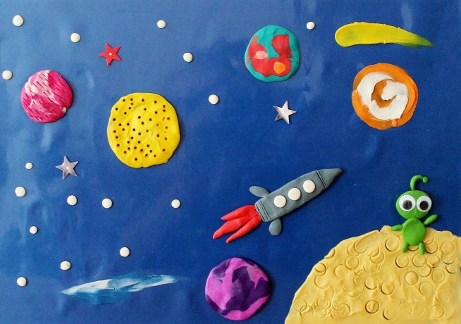 "Plasticine applique ""The Space"""