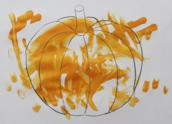 Paint a pumpkin for Halloween with your toddler