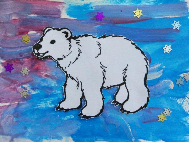 Аппликация «Белый медведь»