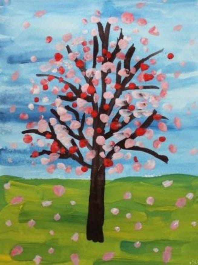 Нарисуйте вместе с ребёнком цветущую вишню