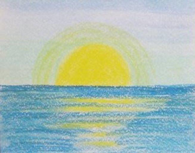 Нарисуйте море с помощью пастели