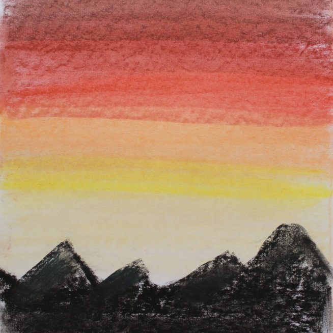 Нарисуйте закат в горах с помощью пастели