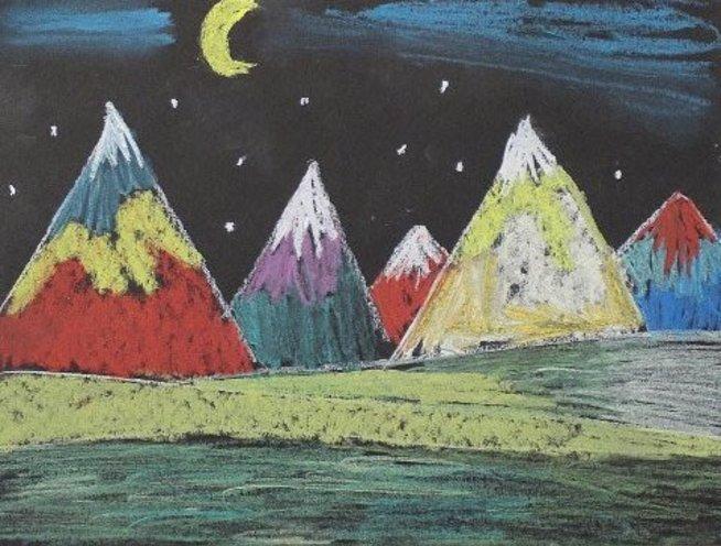 Нарисуйте горы с помощью пастели